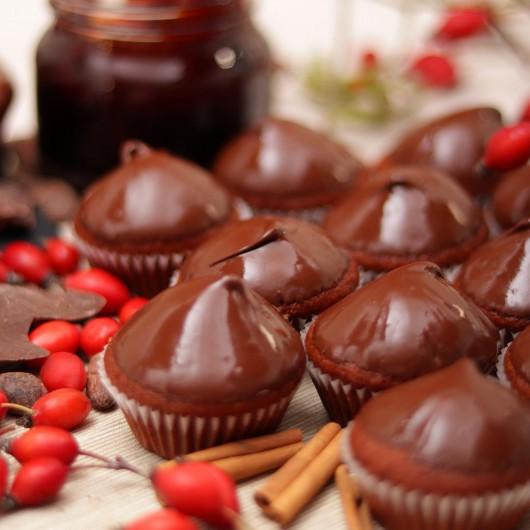 24 Мини Веган Мъфина Шипков мармалад, канела и шоколад