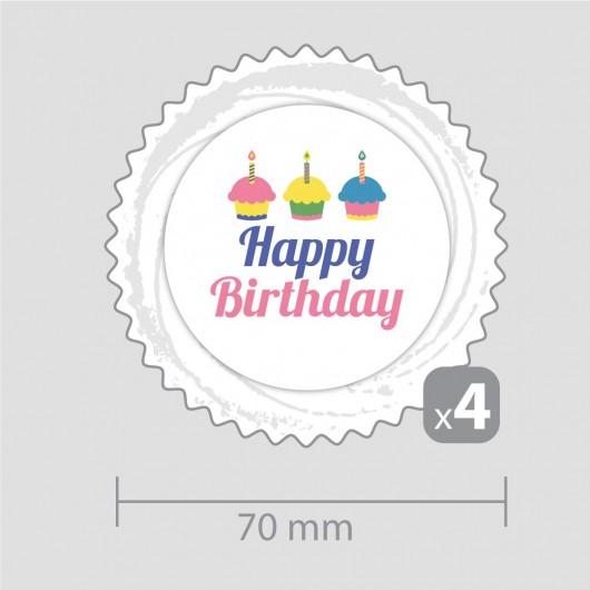 Декорация Честит рожден ден – за четири кексчета