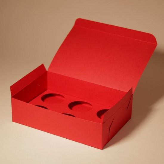 3 червени подаръчни кутии за 6 кексчета