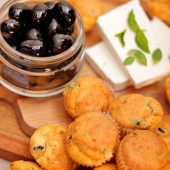 24 Mini Muffins with Olives, Goat Cheese, and Oregano