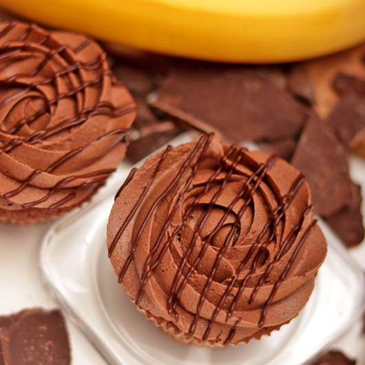 Banana and Chocolate Mousse Cupcake