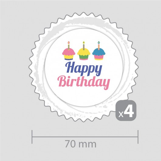 Happy Birthday Decoration – for four cupcakes