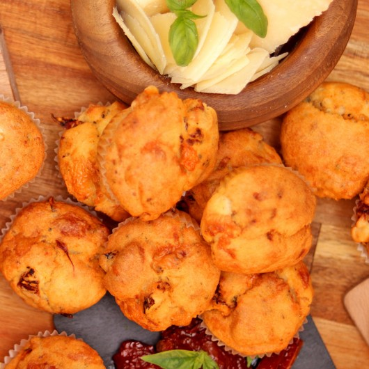 24 Mini Muffins with Dried Tomatoes, Parmesan, and Basil