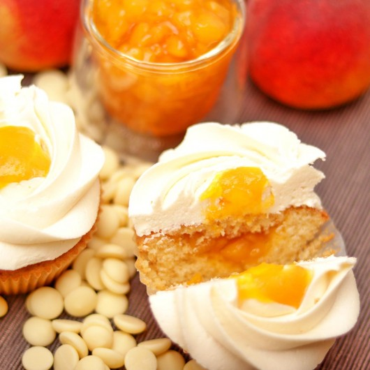 Peach and White Chocolate Cupcake