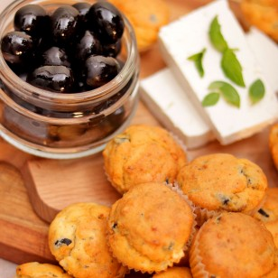 Mini Muffins with Olives, Goat Cheese, and Oregano