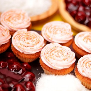 Mini Cherry & Coconut Cupcake