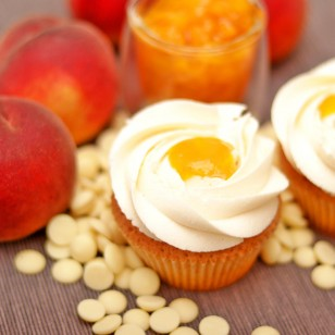 Peach and White Chocolate Cupcake