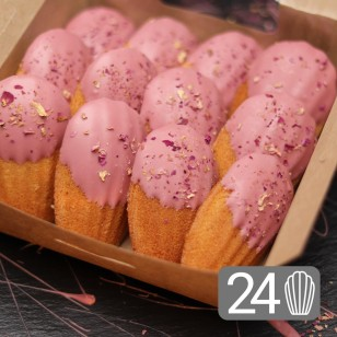 24 Ruby Chocolate and Roses Madeleines