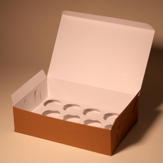 2 cardboard boxes for 12 cupcakes or muffins + 1 one individual box, white