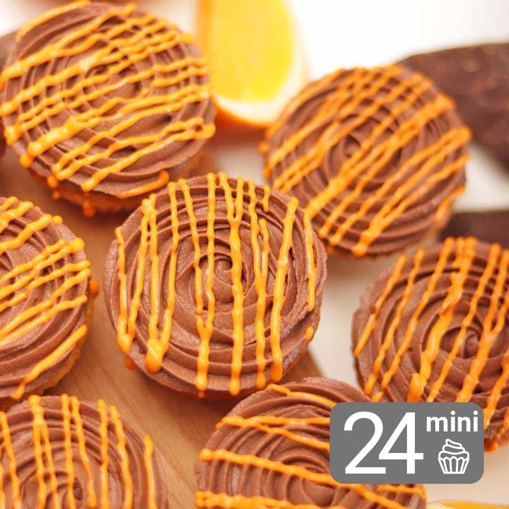 24 Mini Orange & Chocolate Cupcakes