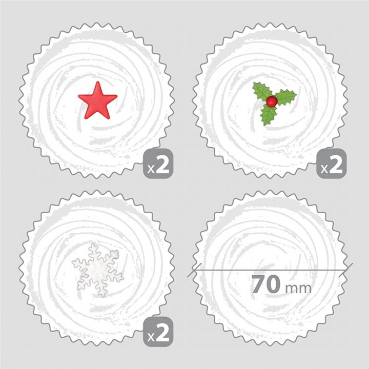 6 Christmas Decorations for Cupcakes
