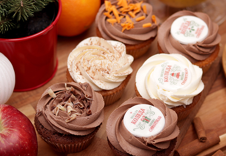 Шест коледни кексчета - доставка навсякъде в София от Take a Cake Bakery